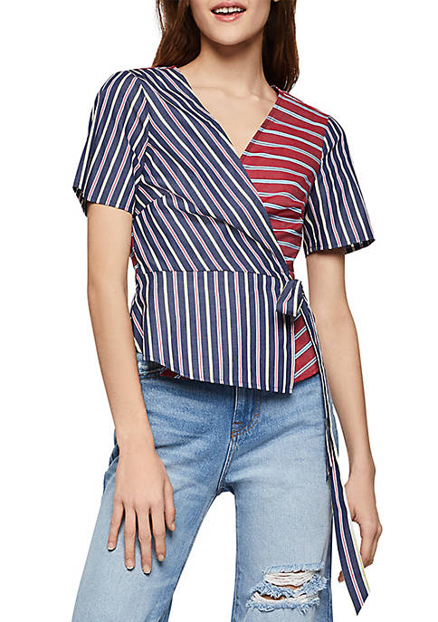 Mixed Stripe Surplice Top