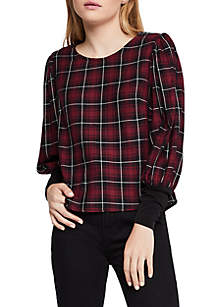 Plaid Puff Sleeve Top
