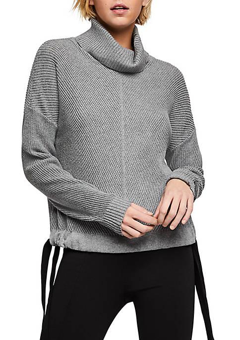 Ribbon Tie Side Turtleneck Sweater