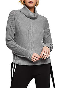 BCBGeneration Ribbon Tie Side Turtleneck Sweater