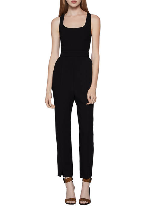 BCBGeneration Womens Fitted U Neck Tapered Jumpsuit