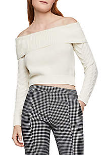 BCBGeneration Off the Shoulder Cable Knit Sweater