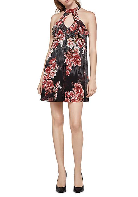Cheap BCBGeneration Ruffle Printed Dress hot sale