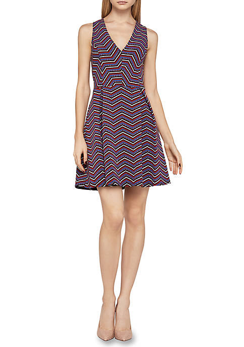 Fit-and-Flare Chevron Dress