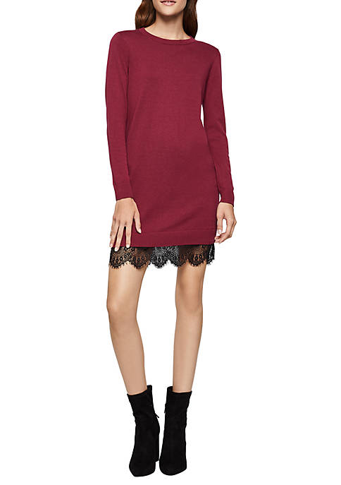 BCBGeneration Scallop Lace Hem Sweater Dress