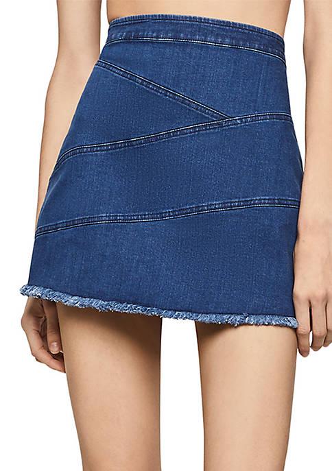 Frayed Edge Denim Mini Skirt