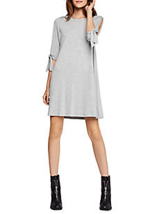 Tie Sleeve Knit A-Line Dress