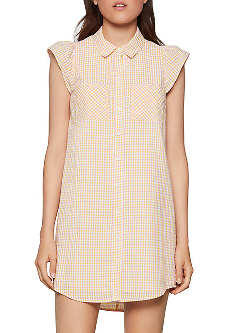 BCBGeneration Sleeveless Check Collared Dress
