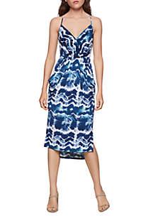 BCBGeneration Tie Dye Drape Pocket Midi Dress