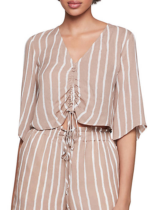 Elbow Sleeve Striped Top