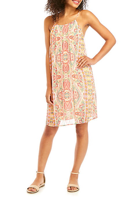 Cocktail Pleat Mini Woven Dress
