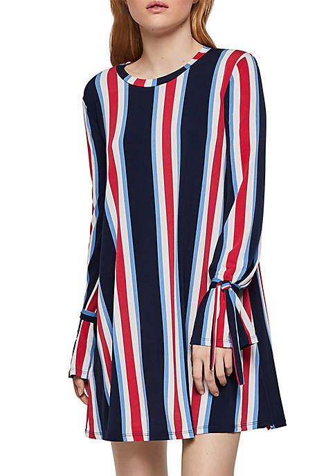 BCBGeneration Striped Wrist Tie A Line Dress