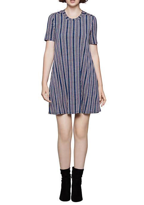 Short Sleeve Striped A Line Dress