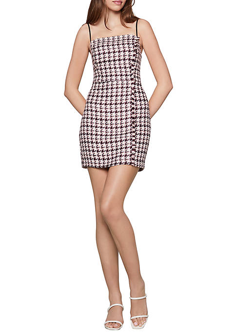 BCBGeneration Frayed Mini Houndstooth Dress