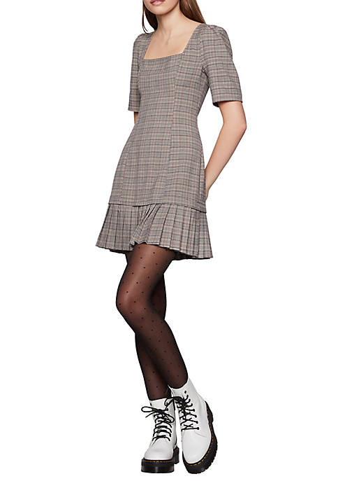 BCBGeneration Short Sleeve Plaid Dress