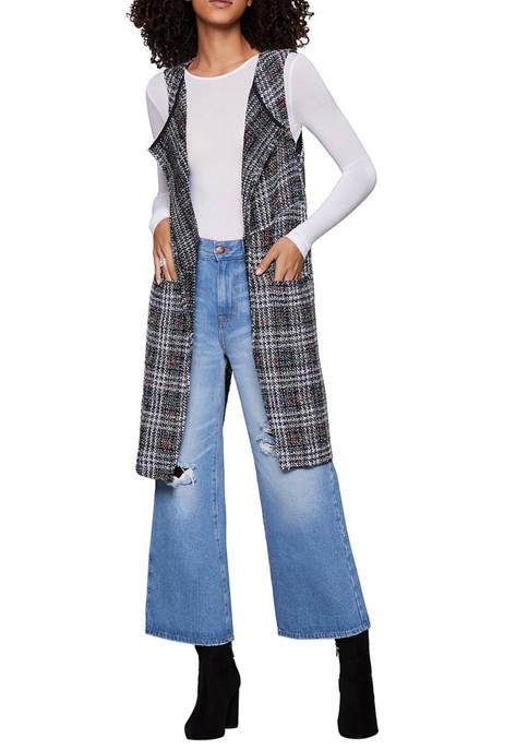 BCBGeneration Womens Sleeveless Long Plaid Vest
