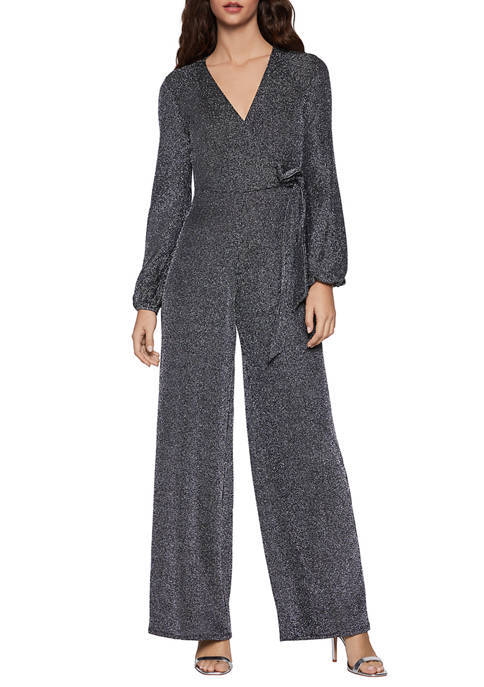 BCBGeneration Womens Long Sleeve Wrap Tied Knit Jumpsuit