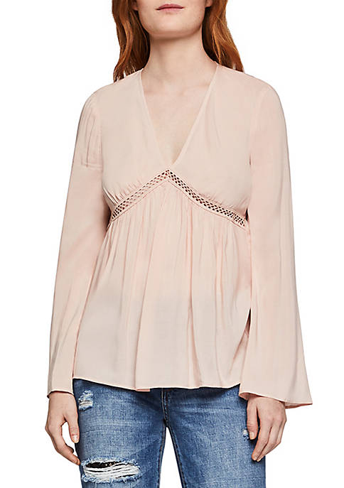 BCBGeneration Long Sleeve Baby Doll Woven Top