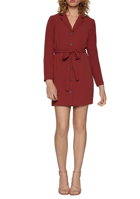 BCBGeneration Womens Collar Button Front Long Sleeve Dress