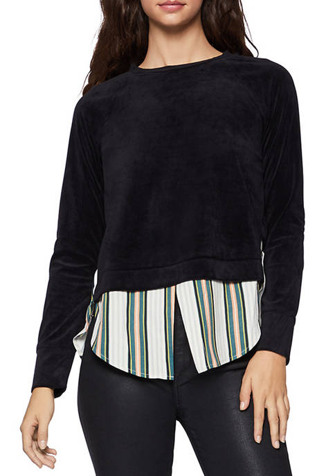BCBGeneration Womens Velvet Top Stripe Bottom Shirt