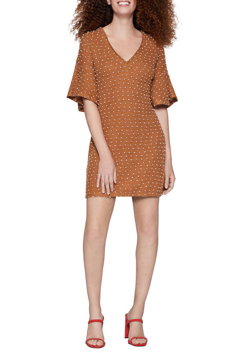 BCBGeneration Womens Relaxed Ruffle Mini Dress