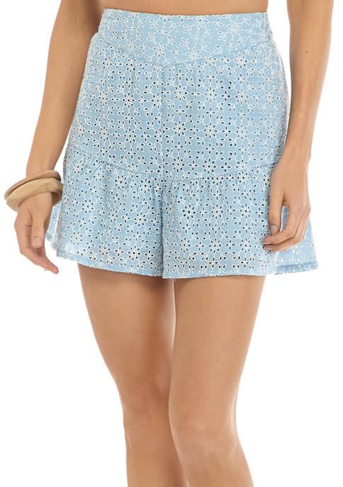 BCBGeneration Womens Cotton Eyelet Shorts