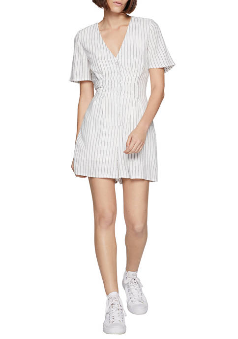 BCBGeneration Womens Button Front Flutter Sleeve Romper