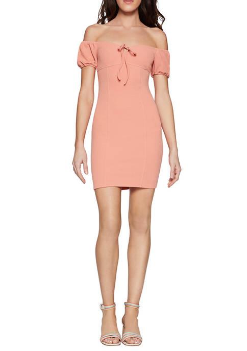 BCBGeneration Womens Puff Sleeve Mini Dress