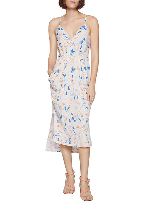 BCBGeneration Womens Spring Floral Drape Dress