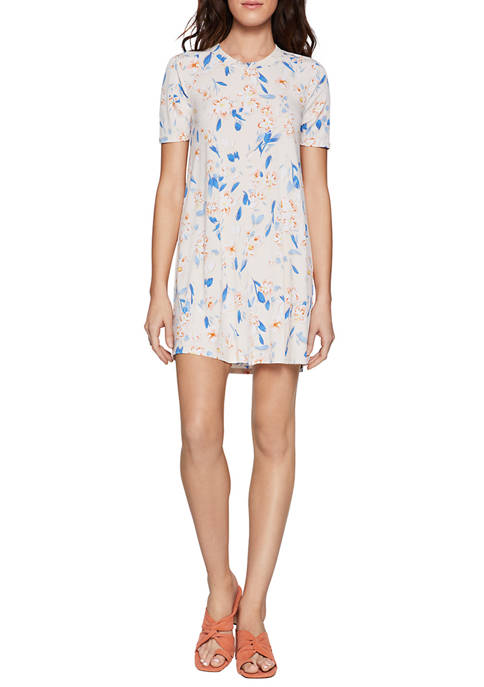 BCBGeneration Womens Spring Floral T-Shirt Dress