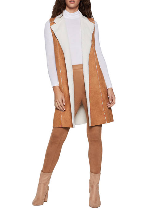 BCBGeneration Womens Faux Suede Shearling Long Vest