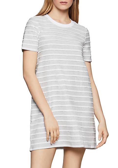 BCBGeneration Scalloped Stripe A Line Dress