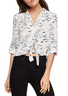 BCBGeneration Printed Tie Front Blouse