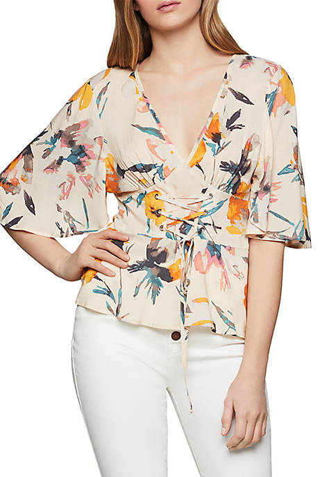 BCBGeneration Abstract Florals Corset Front Top