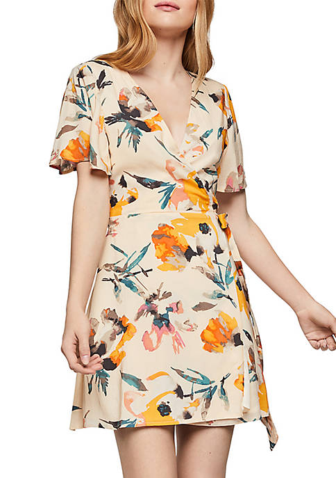BCBGeneration Ruffle Sleeve Wrap Floral Dress