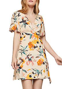BCBGeneration Ruffle Sleeve Wrap Floral Dress