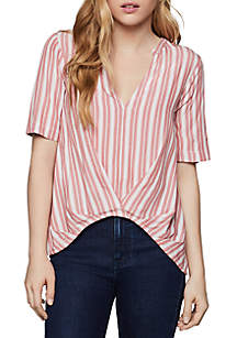 cb3818e0803e ... BCBGeneration Short Sleeve Striped Woven Top