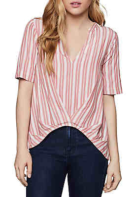 881eb90fc88 BCBGeneration Short Sleeve Striped Woven Top ...