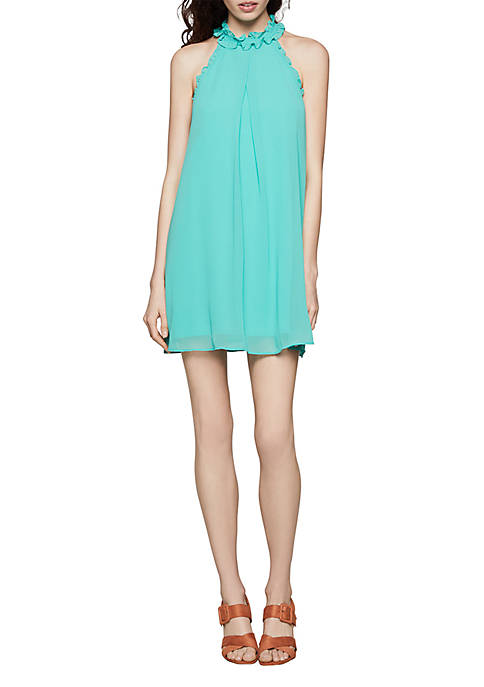 BCBGeneration Ruffle Neck Halter Dress