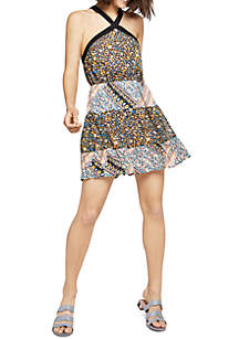 Cross Halter Mix Print Dress