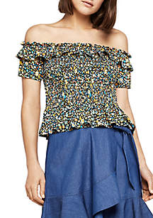 Ditsy Smock Off-The-Shoulder Top