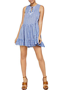 Sleeveless Striped Cotton A-Line Dress