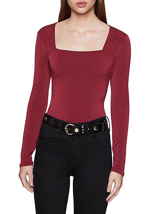 BCBGeneration Womens Long Sleeve Ribbed Bodysuit