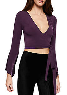 Bell Sleeve Wrap V-Neck Top