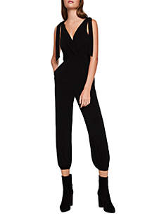 97cd4dcd4ec June   Hudson Sleeveless Knot Front Stripe Crop Jumpsuit · BCBGeneration  Surplice Knit Jumpsuit