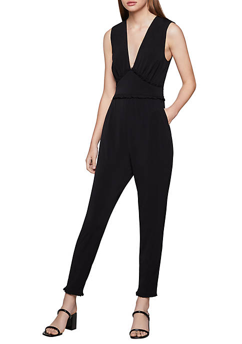 BCBGeneration Womens Ruffled Trimmed Jumpsuit