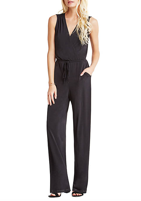 BCBGeneration Womens Surplice Open Back Jumpsuit