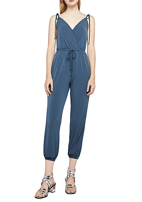 BCBGeneration Tie Shoulder Surplice Jumpsuit