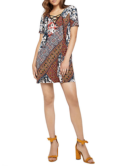BCBGeneration Short Sleeve Printed Lace-Up Dress