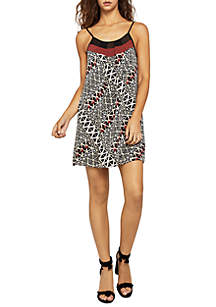 Contrast Trim Printed Cami Dress